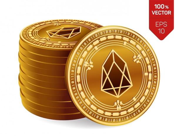 Eosシンボルが白い背景で隔離の黄金のコインのスタック。