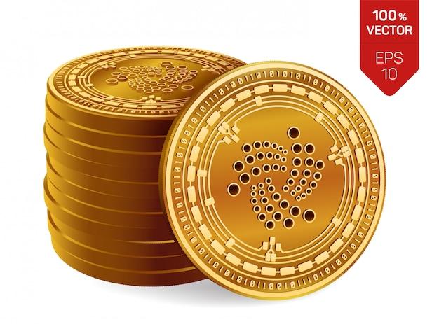 Iotaシンボルが白い背景で隔離の黄金のコインのスタック。
