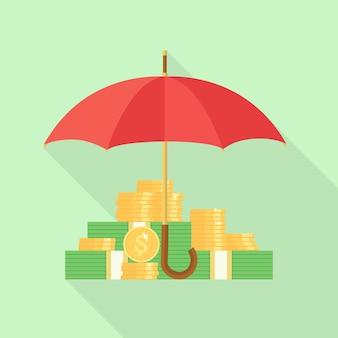 傘のイラストの下にお金のスタック