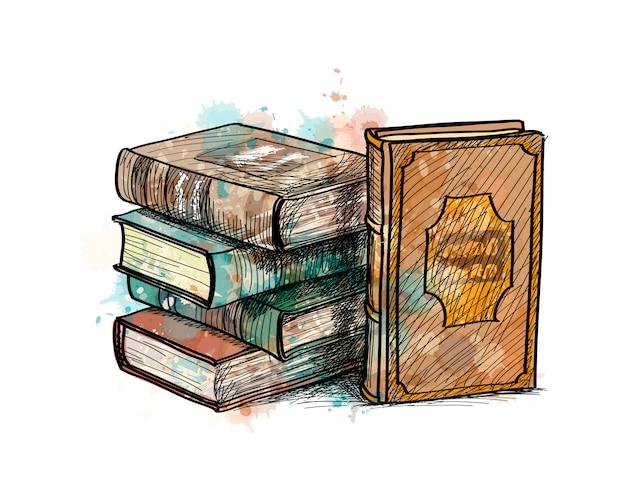 수채화, 손으로 그린 된 스케치의 스플래시에서 멀티 컬러 책의 스택. 페인트의 벡터 일러스트 레이 션