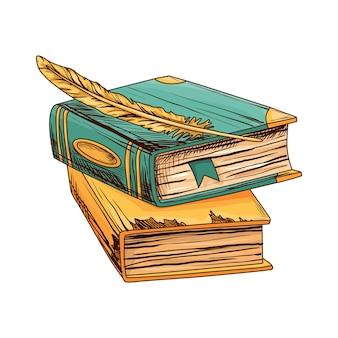アンティークの羽ペンで古い本のスタック