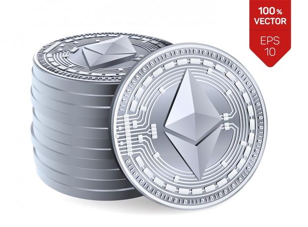 Стек из серебряных монет с символом эфириума, изолированные на белом фоне.