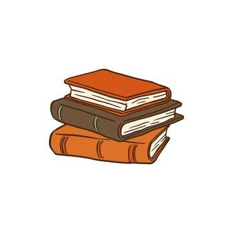 Стек старинных кожаных обложек книг на белом