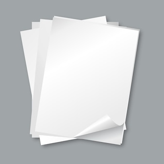 Stack of papers. isolated blank white paper sheets