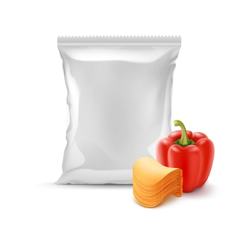 Stack of potato chips with paprika and foil bag