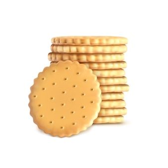 Stack of round biscuit cookies