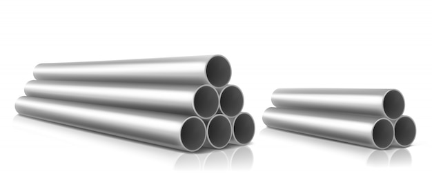 Stack of steel pipes isolated