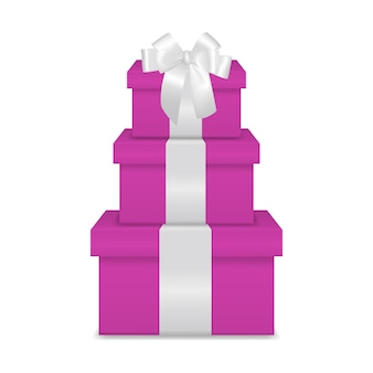 Stack of three realistic pink gift boxes with white ribbon and bow