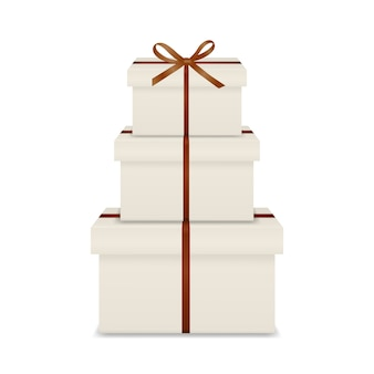 Stack of three realistic white gift boxes with brown ribbon and bow