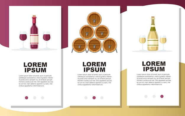 Stack of wooden alcohol barrel red and white wine in bottle drink container illustration Premium Vector