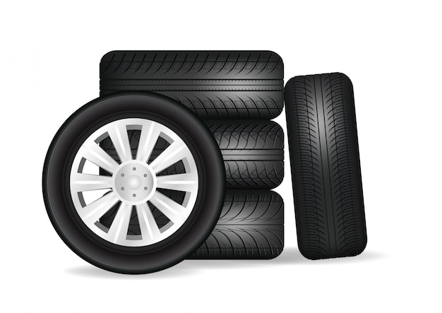 Stacked car wheels.