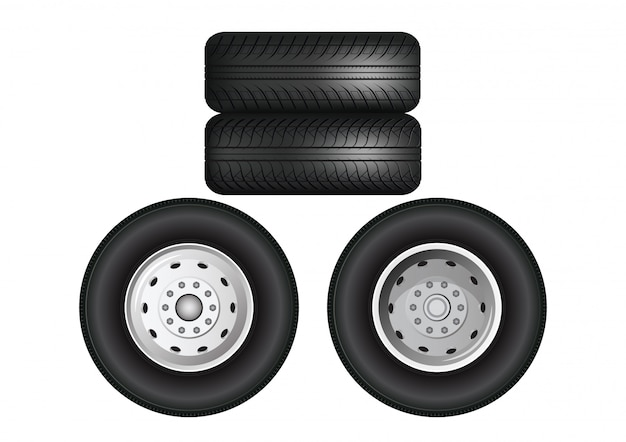Stacked truck wheels.