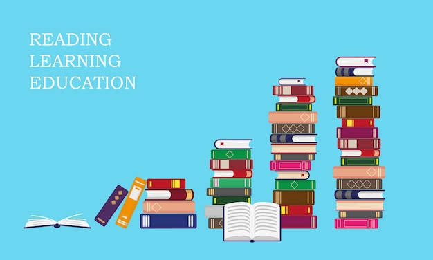 Stacks of books on blue background. reading, education or sales concept.  illustration.