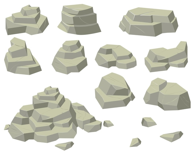 Stacks of flat rocks set. heaps of natural stones of different sizes, rocky pyramids and steps isolated on white background.
