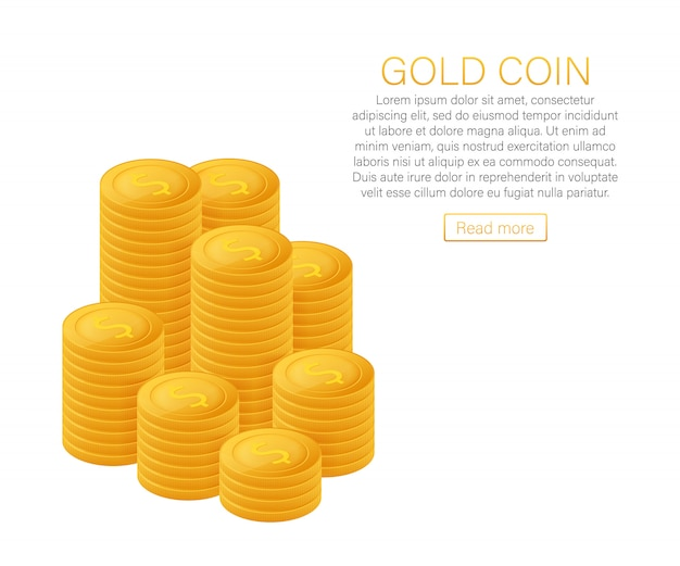 Stacks of gold coins. the concept of profit. web banner. vector illustration.