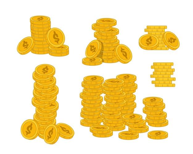 白い背景で隔離の黄金のコインのスタック