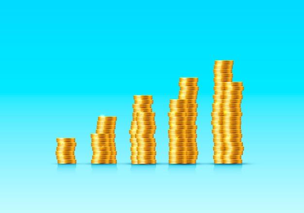 파란색 표면에 동전 금화 증가의 스택