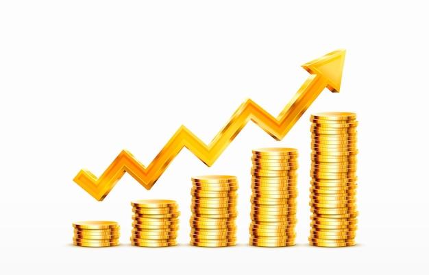増加するコインのスタック白い背景ベクトル上の金貨