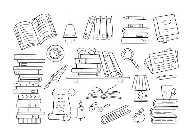 낙서 스타일의 종이 책, 가정 도서관, 책장의 스택. 손으로 그린 세트