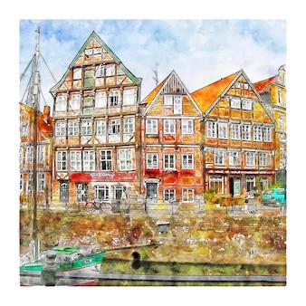 스타드 독일 수채화 스케치 손으로 그린 그림