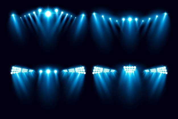 Stadium arena lighting collection vector illustration
