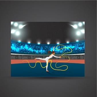Stadium background with gymnast