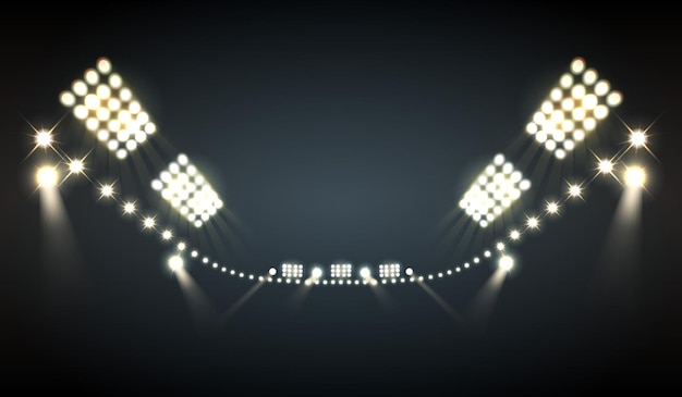Stadium floodlights realistic  with bright lights symbols