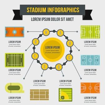 경기장 infographic 템플릿, 평면 스타일