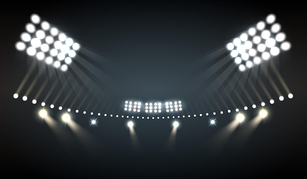Stadium lights realistic  with sports and technology symbols