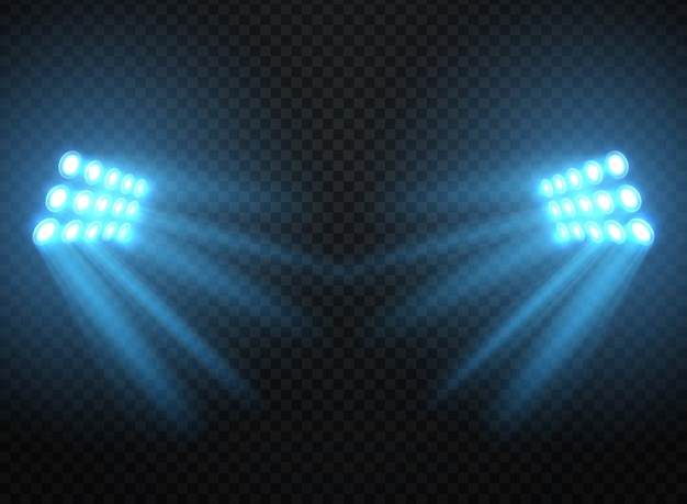 Stadium lights, shiny projectors isolated. vector spotlight template