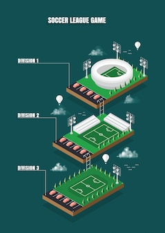 Stadium soccer league game isometric