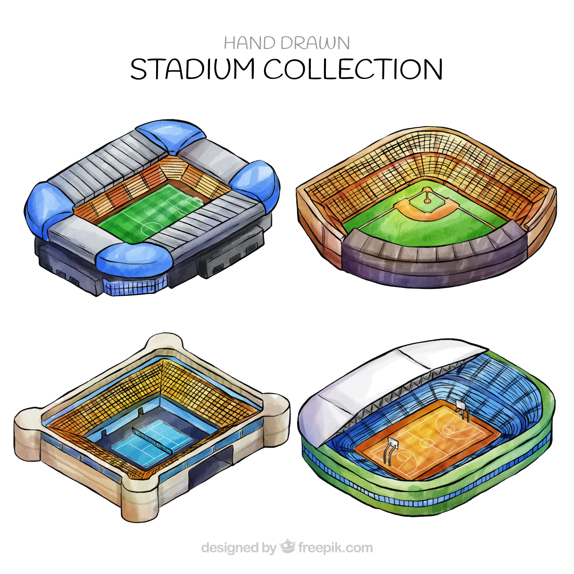 Stadiums collection in hand drawn style