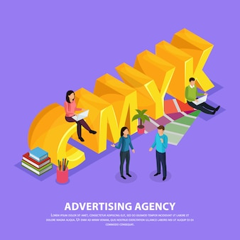 Staff of advertising agency during work near yellow inscription cmyk isometric composition on violet