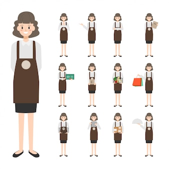Staff character set with job in store
