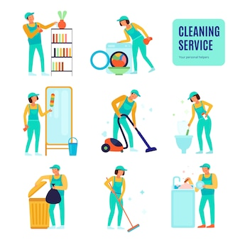 Staff of cleaning service during various domestic work set of flat icons isolated