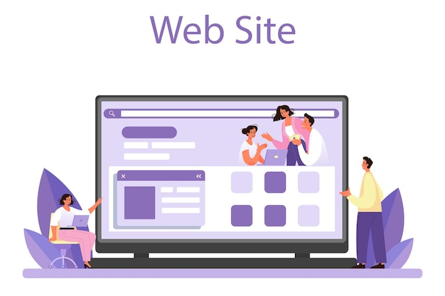 Staff counselling online service or platform. personnel manager providing employee with job instructions. hr training. website. flat vector illustration