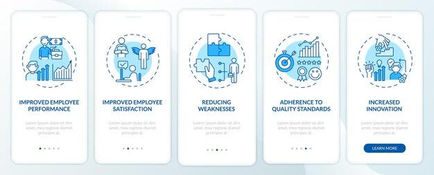 Преимущества для повышения квалификации персонала благодаря включению экрана страницы мобильного приложения с концепциями