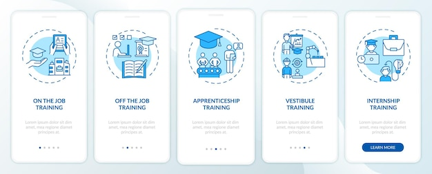 Staff development methods onboarding mobile app page screen with concepts
