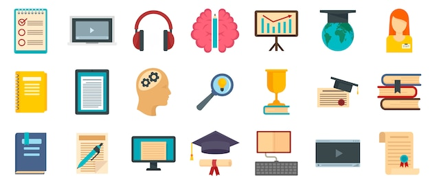 Staff education icons set