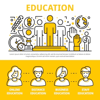 Staff education training banner set, outline style