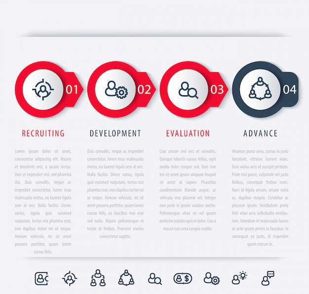 Staff, employee development steps, infographic elements, icons, timeline
