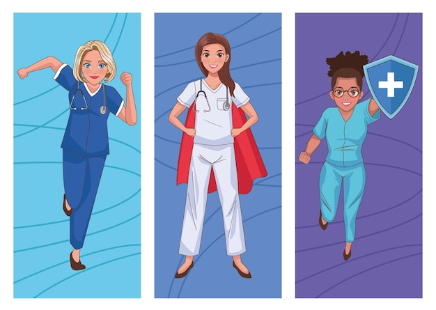 Staff heroes female doctors characters set