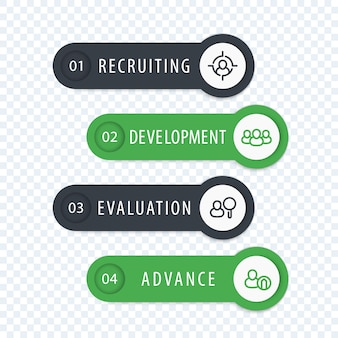 Staff, hr, employee development 1, 2, 3, 4 steps, infographics elements with line icons, labels and banners in gray and green