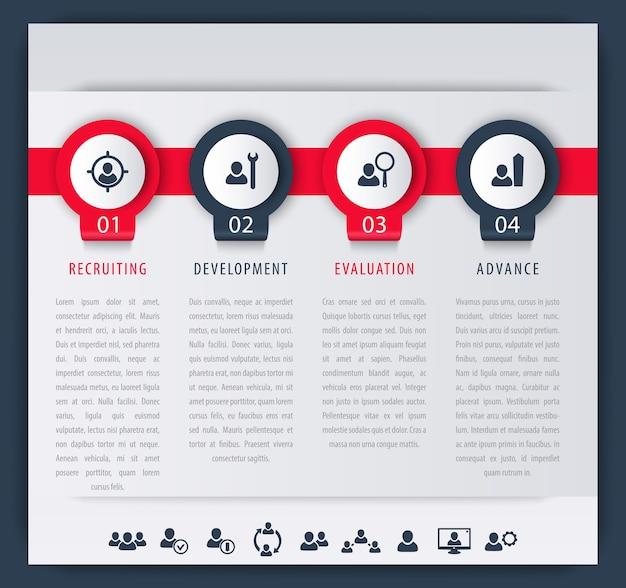 Staff, hr, employee development steps, infographic elements, icons, timeline