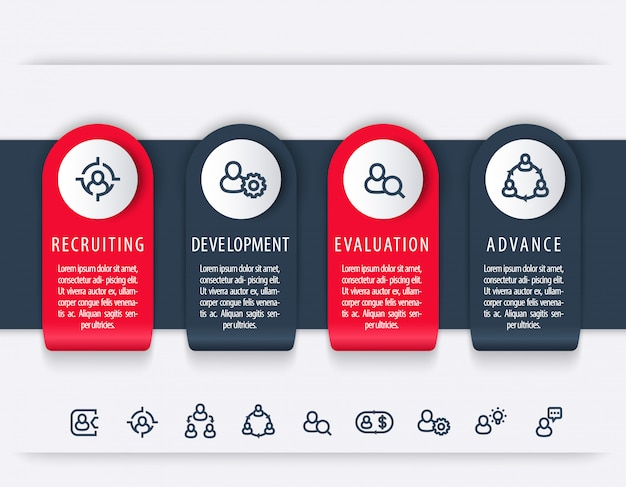 Staff, hr, employee development steps, infographic elements, timeline