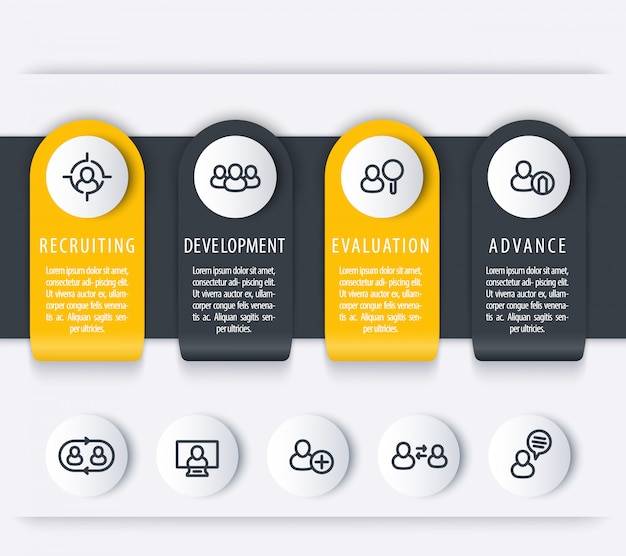 Staff, hr, employee development timeline template, steps, infographics elements with line icons for business report,   illustration