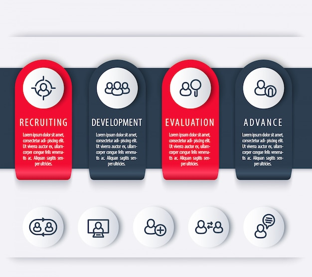 Staff, hr, employee development timeline template, steps, infographics elements with line icons