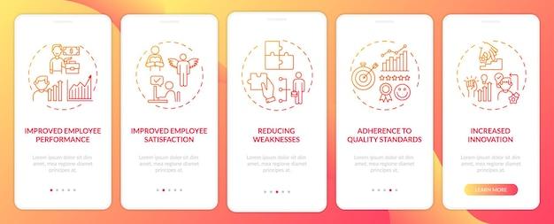 Инструктаж персонала дает преимущества при включении экрана страницы мобильного приложения с концепциями. стандарты качества, недостатки прохождение 5 шагов. шаблон пользовательского интерфейса с цветом rgb