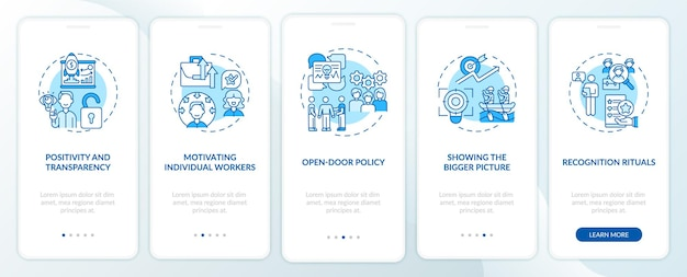 Staff motivation strategies onboarding mobile app page screen with concepts. encourage workers walkthrough 5 steps graphic instructions. ui  template with rgb color illustrations