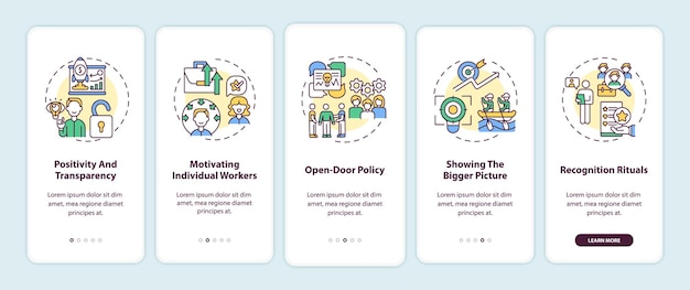 Staff motivation strategies onboarding mobile app page screen with concepts